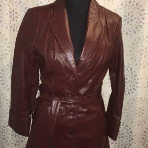 70's vintage leather pea coat